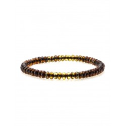 "Stylish bracelet made of natural Baltic amber ""Caramel diamond two-tone"""