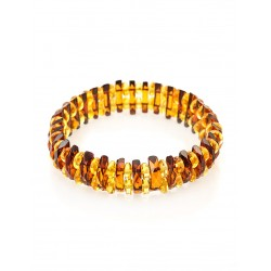 "Sparkling bracelet made of natural Baltic amber ""Mandarin cognac diamond"""