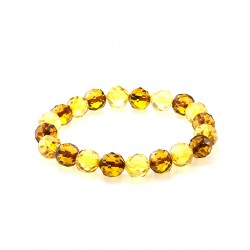 "Sparkling bracelet natural amber ""Ball faceted lemon and brandy"""