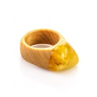"Bright ring of wood and natural Baltic amber, honey-colored ""Indonesia"""