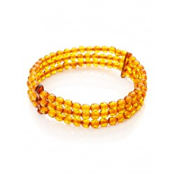 "Three-row bracelet made of natural amber cognac ""diamond Caramel"""