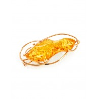 "Elongated brooch-pendant made of solid Baltic amber with sparkling texture ""Rialto"""