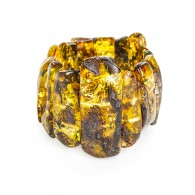 """Unique bracelet made of natural Baltic amber green shade """"Pompeii"""""""