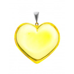 "Magnificent large pendant natural lemon amber ""Heart"""