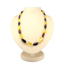 "Amber beads ""Olive large two-tone long"""