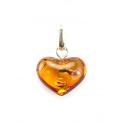 "Amber Pendant ""Heart"" with cognac-colored sparks"
