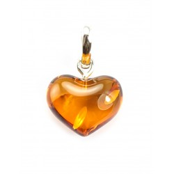 "Amber pendant ""Heart"" beautiful cognac-colored"