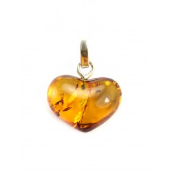 "Amber pendant ""Heart"" cognac color with beautiful sparkling texture"