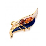 Bright enamel brooch Beoluna with natural Baltic amber