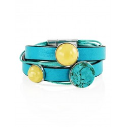 """Bright turquoise bracelet """"Silverstone"""" of genuine leather, decorated with amber"""