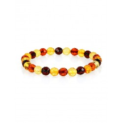 "Bright bracelet made of natural solid amber ""Caramel diamond motley"""