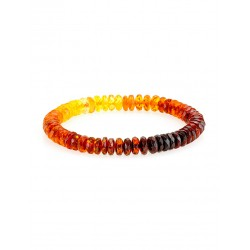 "Bright bracelet made of natural solid amber of different colors ""Caramel diamond graded"""