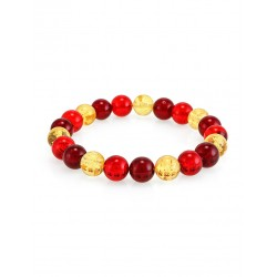 """Bright bracelet made of natural solid amber """"Shar glossy lemon and cherry"""""""