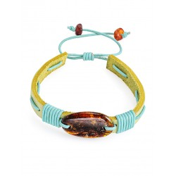 """Bright colored leather bracelet with a solid piece of natural amber """"Copacabana"""""""