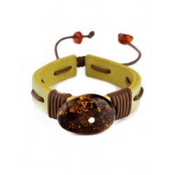"""Bright yellow leather bracelet with oval green amber """"Copacabana"""""""