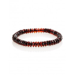 "Bright elastic bracelet made of natural Baltic amber ""Caramel Cherry Diamond"""