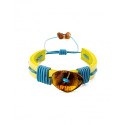 """Bright bracelet with cognac amber from yellow leather, decorated with blue laces """"Copacabana"""""""