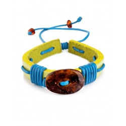 """Bright bracelet with solid amber from genuine leather """"Copacabana"""""""