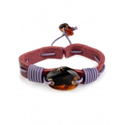 """Bright bracelet in leather and natural amber """"Copacabana"""""""