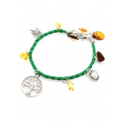 """Bright green bracelet with natural amber """"Summer afternoon"""""""