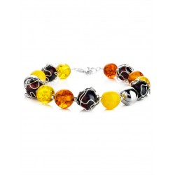 """Bright spectacular bracelet made of natural amber and silver """"Aphrodite"""""""
