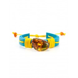 """Bright blue leather bracelet with a large piece of natural amber """"Copacabana"""""""