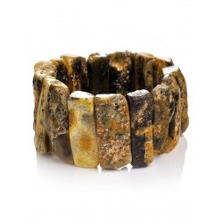 """Bright and unusual bracelet natural amber with the natural texture of """"Pompeii"""""""