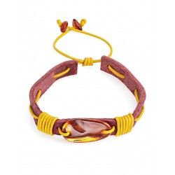 """Bracelet made of genuine leather with inserts of sparkling cherry amber """"Snake"""""""