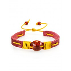 """Bright leather bracelet with natural solid amber """"Copacabana"""""""