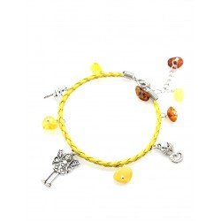 """Bright summer yellow bracelet with natural amber """"Alice in Wonderland"""""""