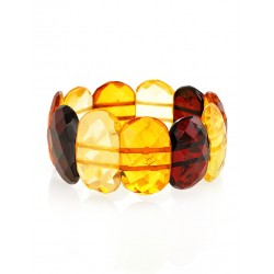 "Bright elegant bracelet made of natural Baltic amber ""Faceted plate"""