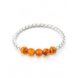 Bright unusual bracelet leather with natural amber