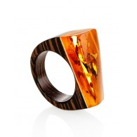 "Bright and unusual ring of wood with natural sparkling amber ""Indonesia"""
