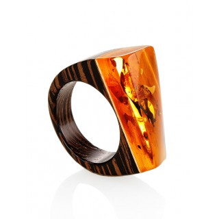 """Bright and unusual ring of wood with natural sparkling amber """"Indonesia"""""""