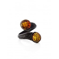 """Bright ring of leather with a sparkling amber """"Snake double"""""""