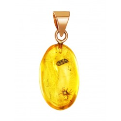 "Gold pendant of natural amber with inclusions of prehistoric insects insects ""Clio"""