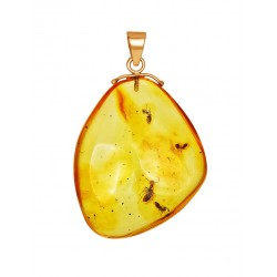 "Gold pendant of natural amber with inclusions of ants ""Clio"""