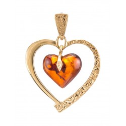 "Golden Pendant ""Heart"" with natural cherry amber"