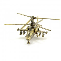 Scale model of the Russian KA-52 Alligator Helicopter (1:80), bronze
