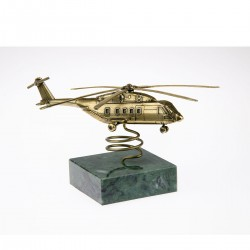 Scale model of the Russian MI-38 Helicopter (1:144) on Natural Stone, bronze