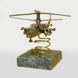 Scale model of the Russian KA-52 Alligator Helicopter (1:80) on the Stand, bronze