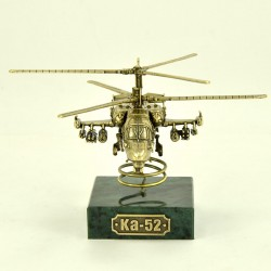 Scale model of the Russian KA-52 Alligator Helicopter (1:100) on the Stand, bronze