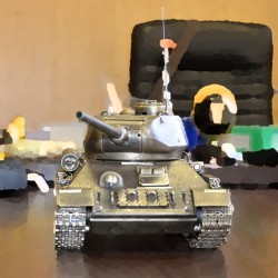 Radio-controlled scale model of the Russian T-34/85 Tank (1:16), bronze