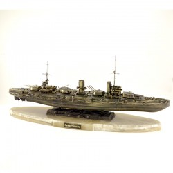 Scale model of the Russian Sevastopol Battleship (1:350), bronze