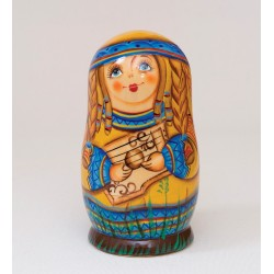 """Folk Costume"" Set of 3 Miniature Nesting Dolls B"