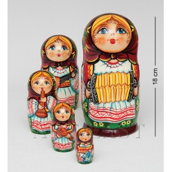 """Family"" Set of 5 Miniature Nesting Dolls in Assortment"