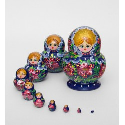 """Nastyusha"" Set of 10 Miniature Nesting Dolls"
