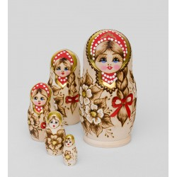 """Glasha"" Set of 5 Miniature Nesting Dolls"
