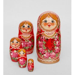 """Marfusha"" Set of 5 Miniature Nesting Dolls"