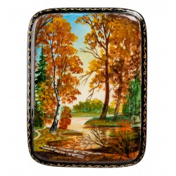 """Russian Painted Box Fedoskino """"On a lakes shore"""""""